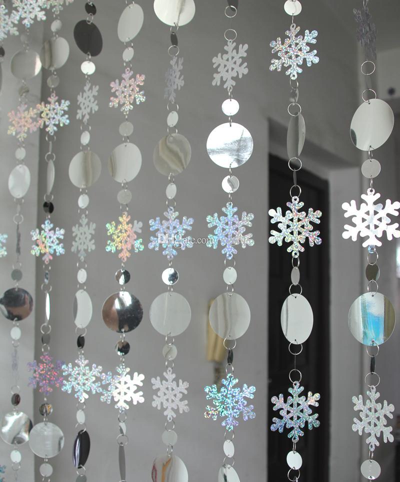 Weihnachtsdekoration Vorhang große Schneeflocken Laser Pailletten PVC Glitter Pailletten Vorhang Weihnachtsbaum Ornamente