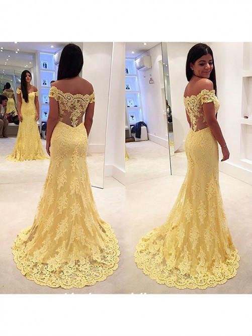 f9abf793793 Yellow Colour Trumpet Mermaid Sexy New Off The Shoulder Lace Sweep Brush  Train Long Evening Dresses Plus Size Dresses Maxi Dresses From  Linda wedding