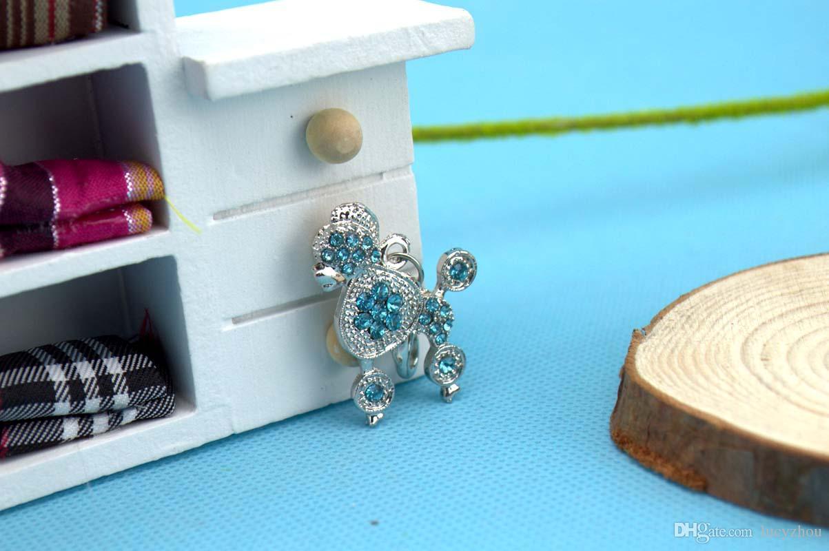 L Size Poodle Shape Pet Dog Cat Tag ID Czech Diamond Pet Pendant Fashion Hotsale Fit Pet Collar Necklace Key Phone Pendant