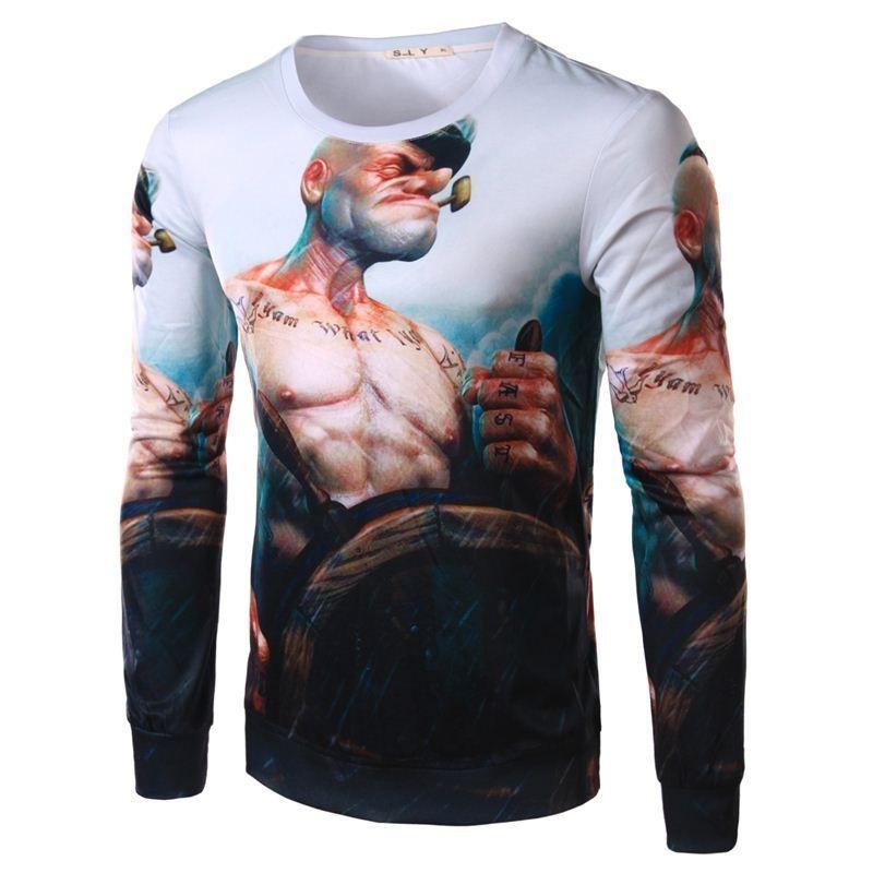 3d T Shirt Men Brand 2015 Fashion Popeye Printed Long Sleeved T ...
