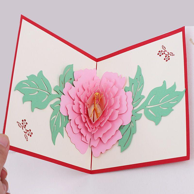 Three Dimensional Creative Peony Greeting Card Christmas Postcard Handmade Custom Birthday Wishes New Year Photo Cards