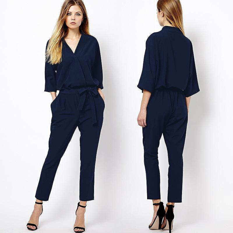 a379506d1b41 Fashion V-neck Three Quarter Sleeve Jumpsuit Pants Rompers Europe And  America Brand New ZA Basic Vestidos Black Navy Blue Formal Vestidos Womens  Jumpsuit ...