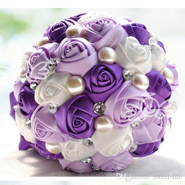 2019 Lüks Gelin Düğün Buket Ucuz Yapay Krem Fuşya Mavi Nedime Çiçek Kristal İnci İpek Gül Düğün Dekorasyon Stokta