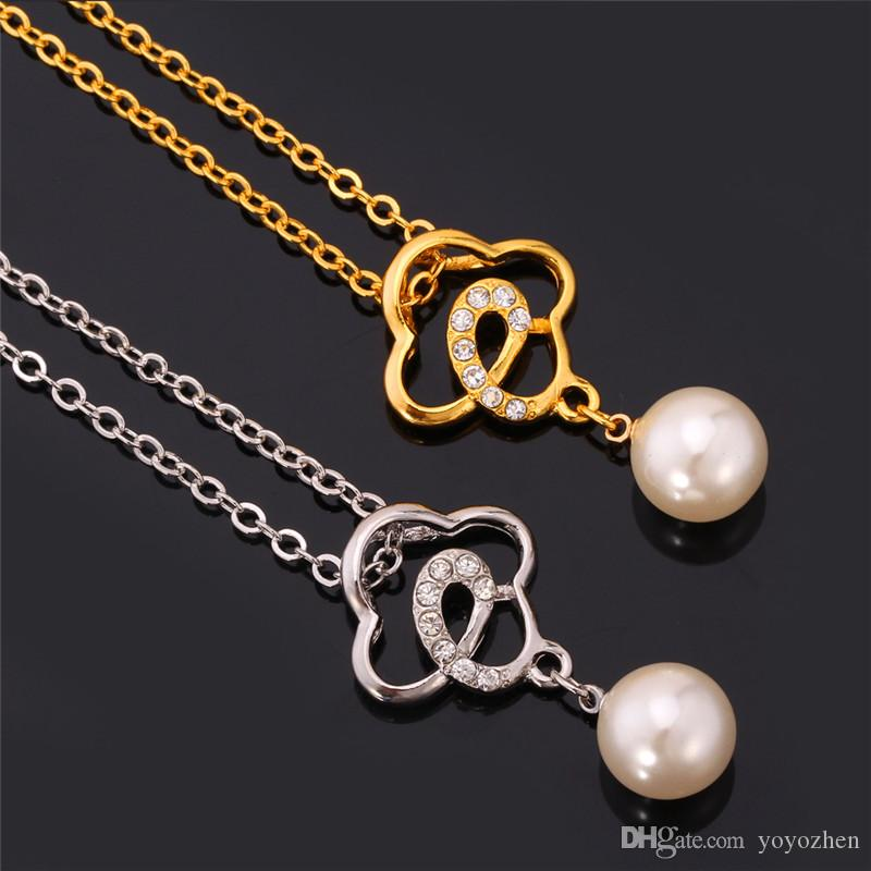 High Quality 18K Gold Plated Cloud Pendant Choker Necklace Jewelry Sets With Rhinestone Pink Faux Pearls Wholesale YS2410