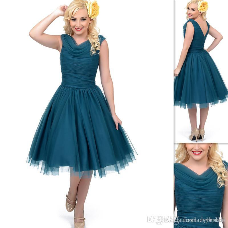 Vintage Style Prom Dresses Teal First Date Swing Tulle