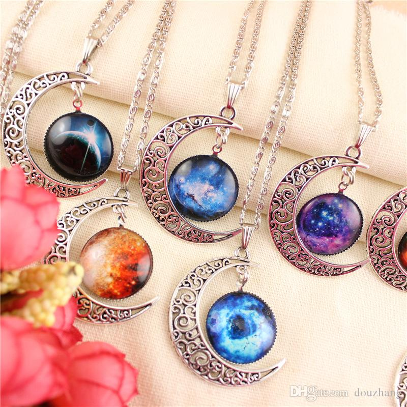 Fashion Rare Vintage Silver Starry Sky Round Moon Pendant Necklace Outer Space Universe Necklaces Jewelry Wholesale