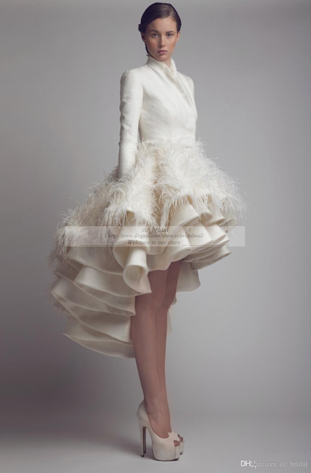 Designer Krikor Jabotian High Low Brautkleider Stehkragen Rüschenfeder Eine Linie Satin Langarm Brautkleider Plus Size Brautkleider