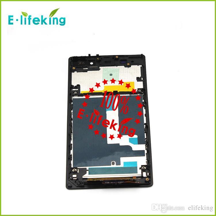 Siyah LCD Ekran + Dokunmatik Ekran Digitizer + Çerçeve Meclisi Için Sony Z1 L39h l39 C6902 C6903 C6906 C6943 Siyah Ücretsiz Kargo
