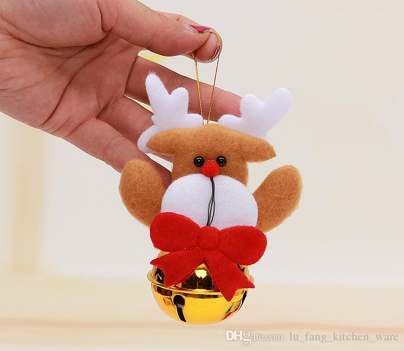 new Christmas tree Decorative Iron art round bells Pendant small doll Christmas decorations DIY Party Party Supplie Mixed batch wholesale