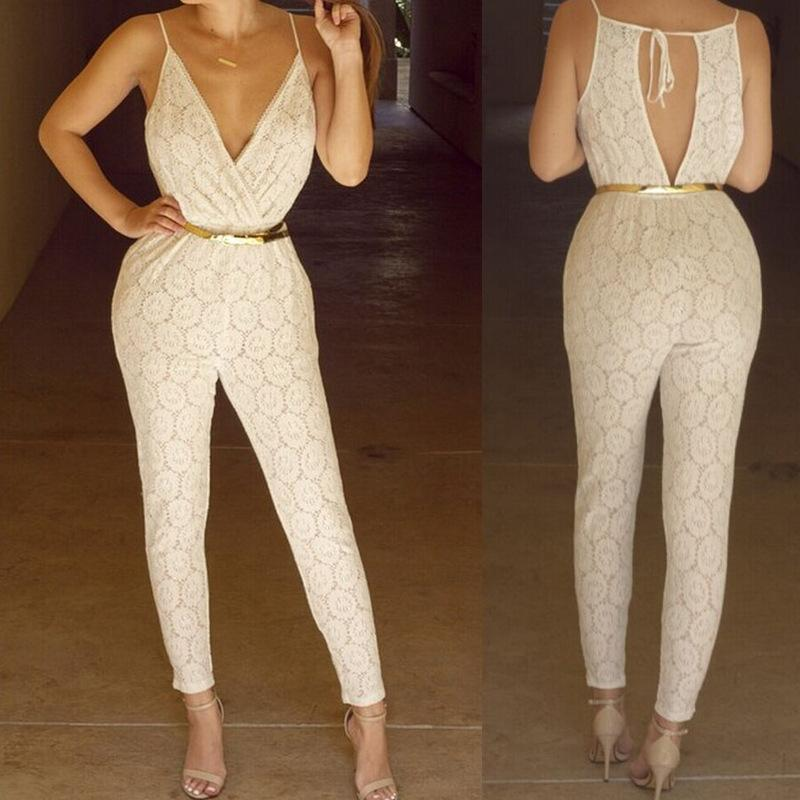 2017 2015 Summer Sexy Beige Lace Jumpsuit Deep V Neck Bodysuit ...