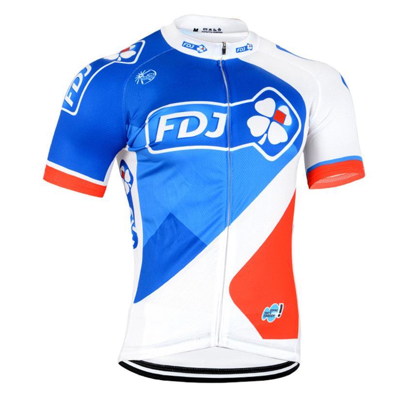 New Fdj Pro Cycling Jersey Team Summer Short Sleeve Bike Shirt Quick ... f99496cf6