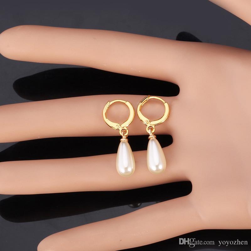 Joyería de moda de alta calidad para las mujeres, platino chapado en agua perla perlas clip, pendientes colgantes, pendiente clásico, diario, aniversario, compromiso, yE1286