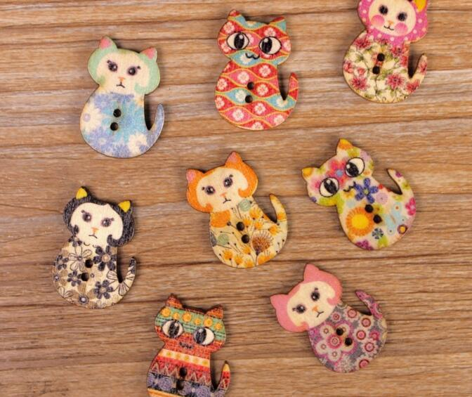 new Multicolor 2Holes Mixed color cartoon Cat Wooden decorative Buttons Fit Sewing Scrapbooking Crafts WB-05 Garment Accessories