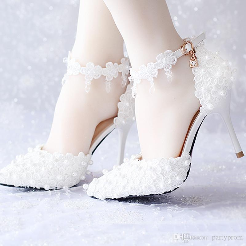 3752694f72a White Lace Flower Bridal Dress Shoes Pointed Toe High Heels Ankle Straps  Prom Party Shoes White Red Pink Wedding Shoes Buy Shoes Online Cheap Shoes  For ...