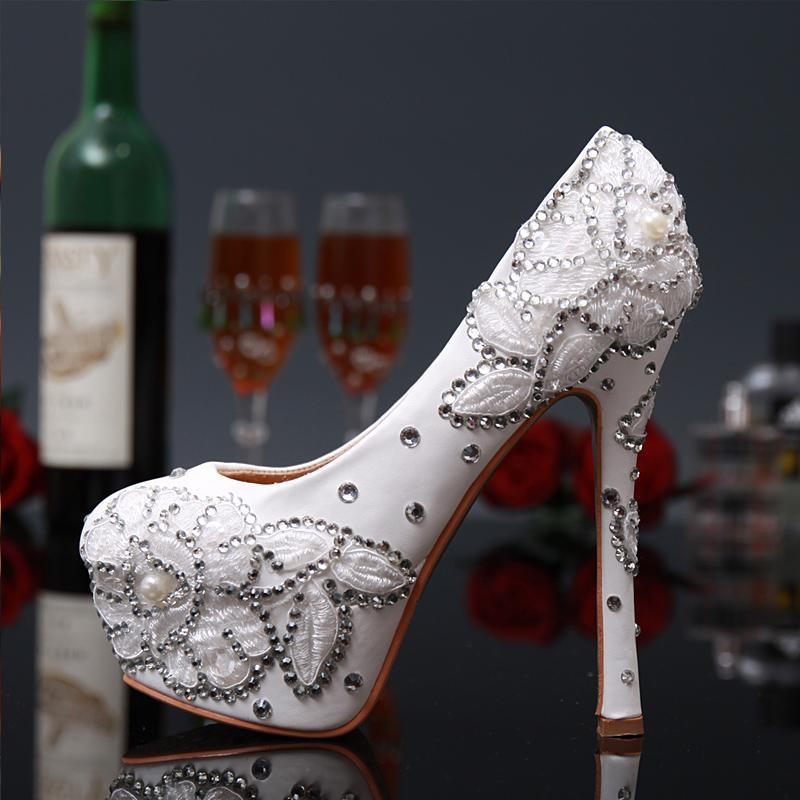 Роскошные свадебные свадебное платье обувь белый горный хрусталь цветок на высоком каблуке Алмаз Леди обувь для Леди партии выпускного вечера вечернее мероприятие
