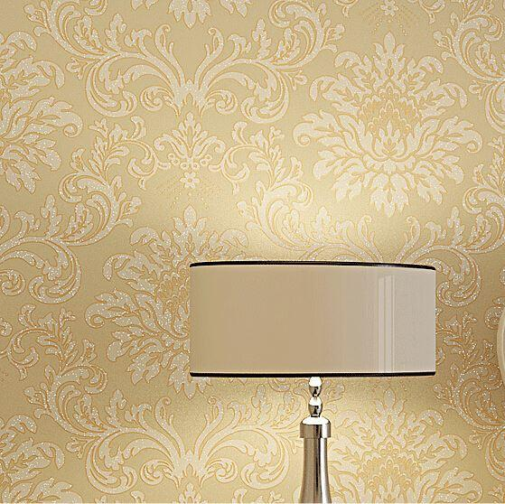 Europe Modern Textured Glitter Damask Wallpaper Yellow,Beige,Golden ...
