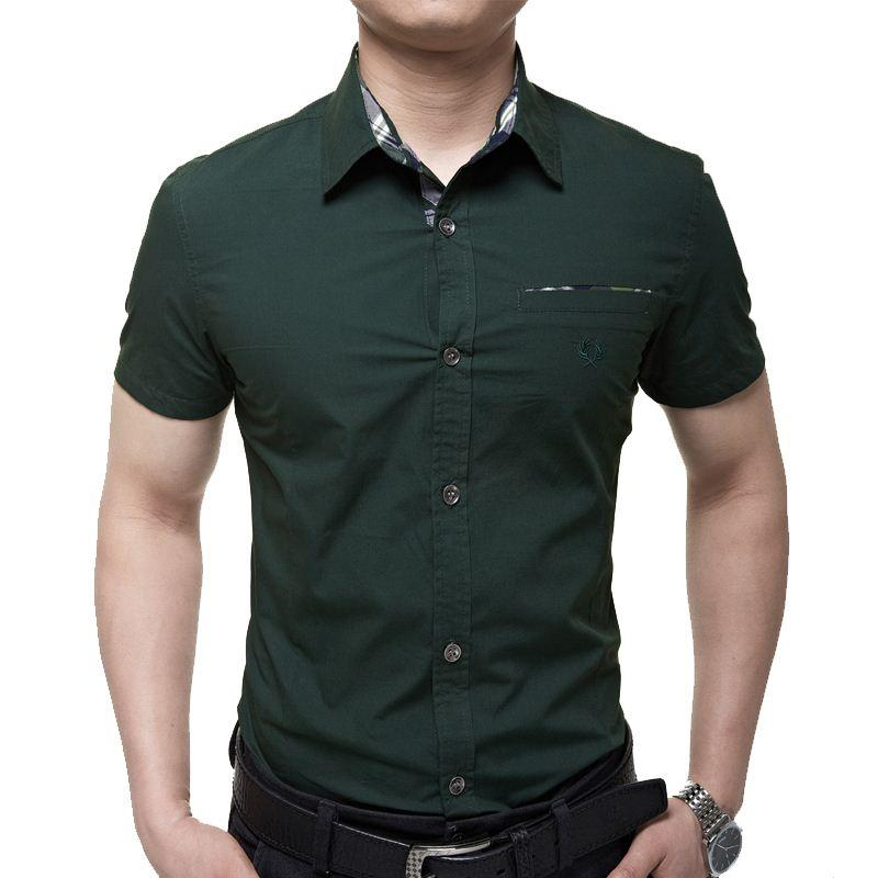 2017 Mens Short Sleeve Dress Shirts Man Short Sleeve Shirt Cotton ...