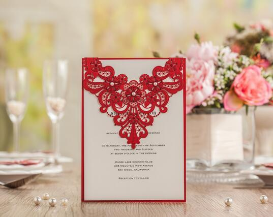 2016 New Elegant Wedding Invitations Cards Unique Invitations Red Wedding  Invitations Laser Cut Fiche Free Of Charge Text Printing Cw5238 Celtic  Wedding ...