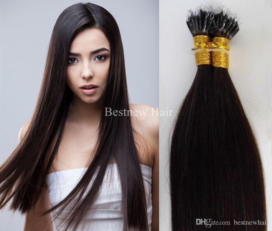 100g 18inch 20inch 22inch 2#Darkest Brown, REMY MICRO NANO RINGS hair extensions 100% INDIAN REMY Human 5A Grade Hair Extension..
