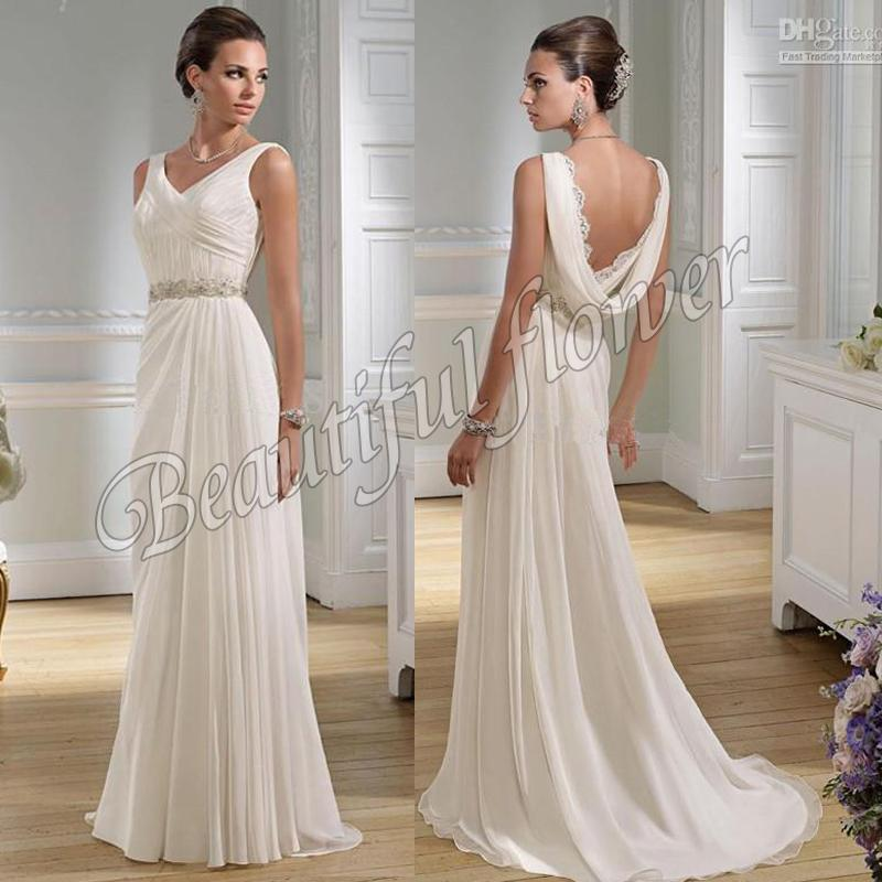 Cowl Neck Bridal Gown: 2015 Hot Sale Simple Fairy Wedding Dresses Chiffon Long V