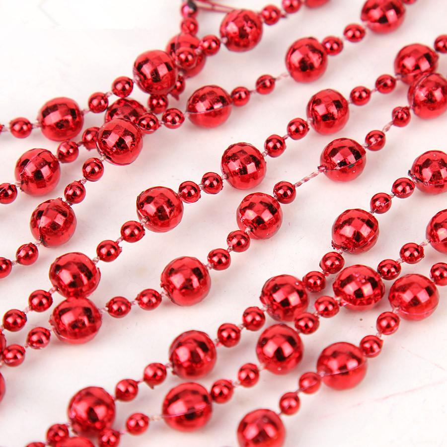 Hot pink christmas decorations - 40 Hot Christmas Decorations 240 0 8cm Package Red Gold White Plated Mirror Ball Chain String For Christmas Tree Decoration