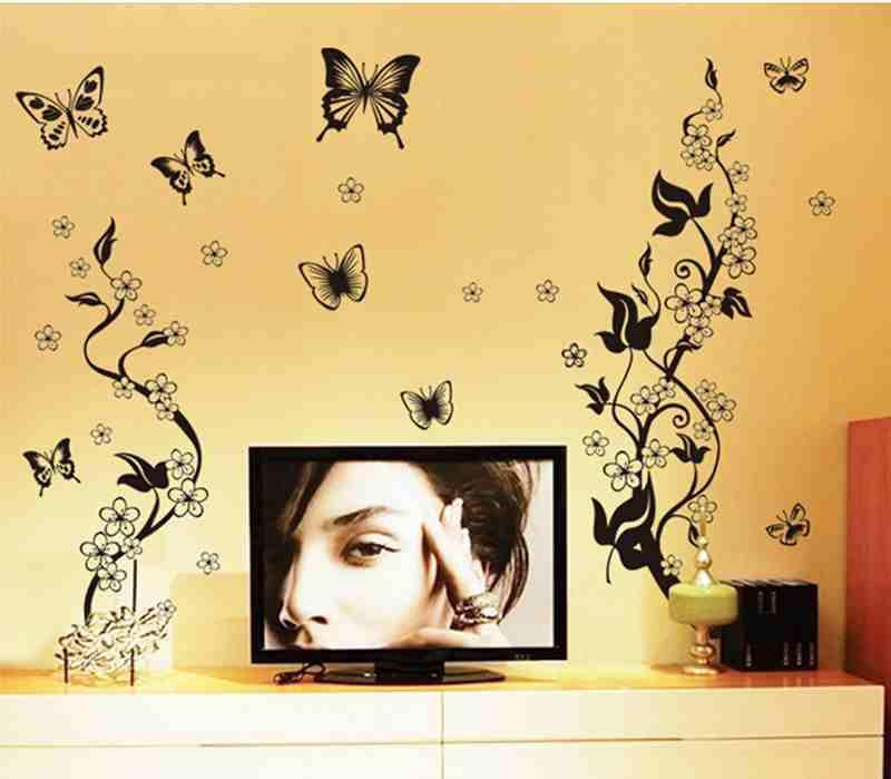 Living Room Vinyl Wall Decal Sticker Flower Vines Butterfly Mural - Vinyl wall decals butterflies