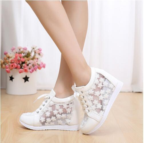 2015 New Flowers Leather Hidden Wedge Heels Casual Shoes Women'S ...
