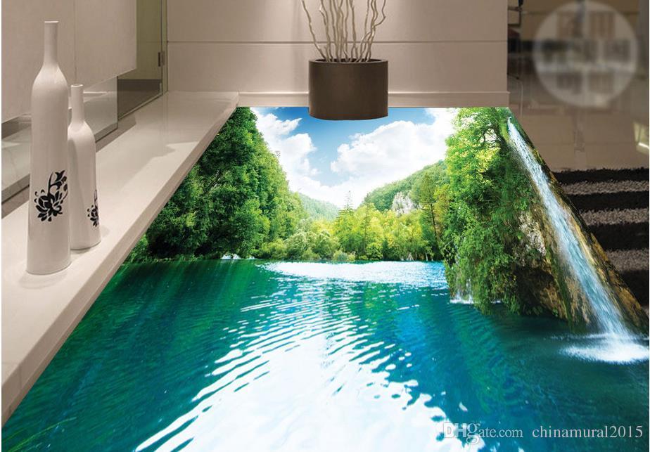 흰 구름 바닥 벽지 PVC 자체 접착 층 욕실 욕실 주방 거실 푸른 하늘