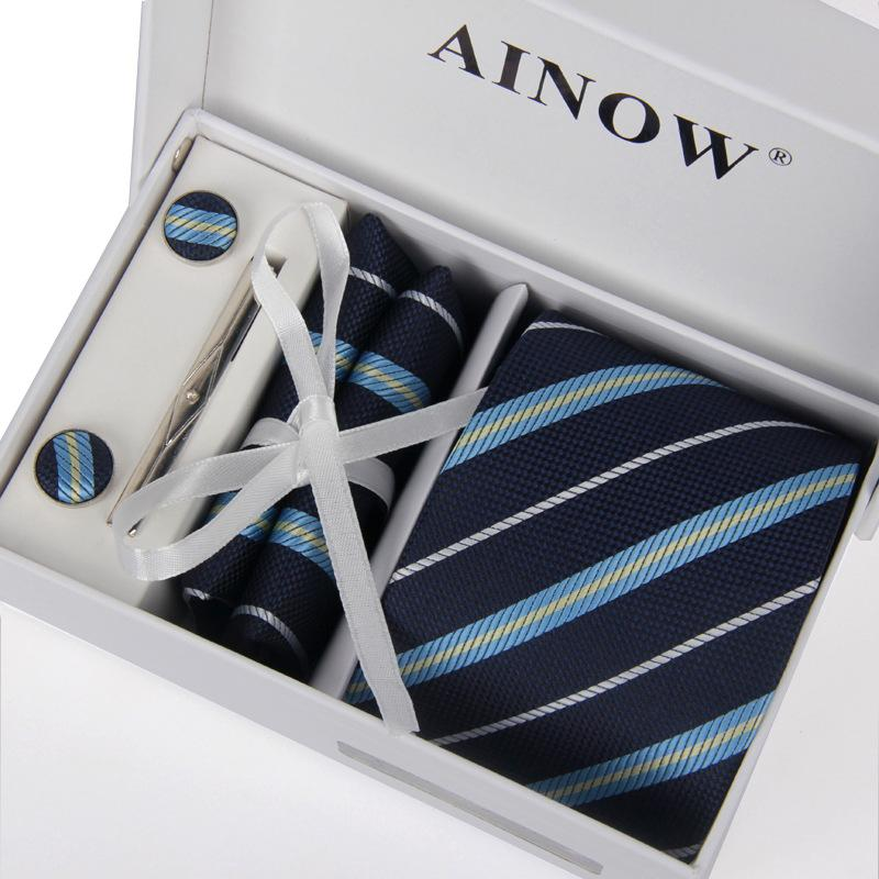 Men Shirt Ties Neck Tie Set Weddingties & Tie Clips & Cufflinks ...
