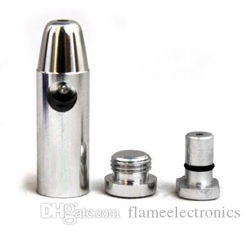 2015 Metal Bullet Snuff Snorter Smoking Pipe Cigarette Snuff Dispenser Snorter Aluminum Bullet Rocket Shape Nasal Glass Bong Vaporizer