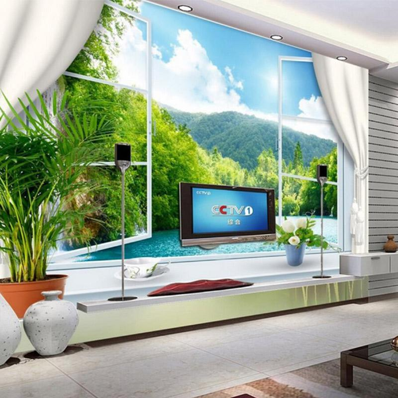 Customize Hd Mural 3d Wallpaper Window Sea Landscape Living Room
