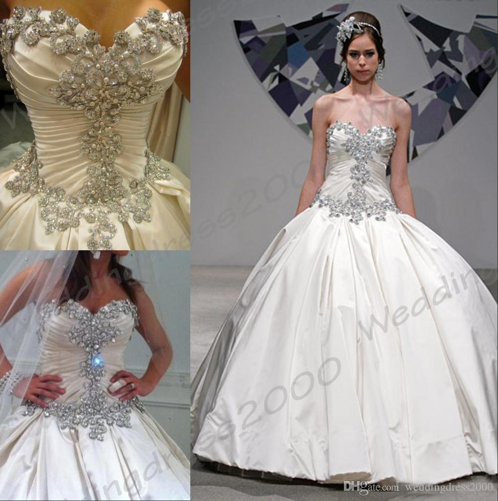 Classic Pnina Tornai Ball Gown Taffeta Beading Crystals Sweetheart Wedding Dresses Bridal Gowns Lace Back Applique Custom With