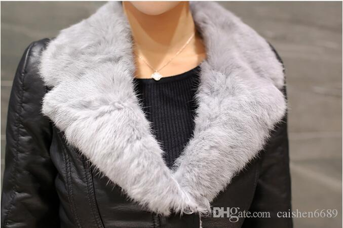 winter new plus velvet leather clothing women short jacket coat fashion slim Thicken fur collar motorcycle leather jacket women coats greatc