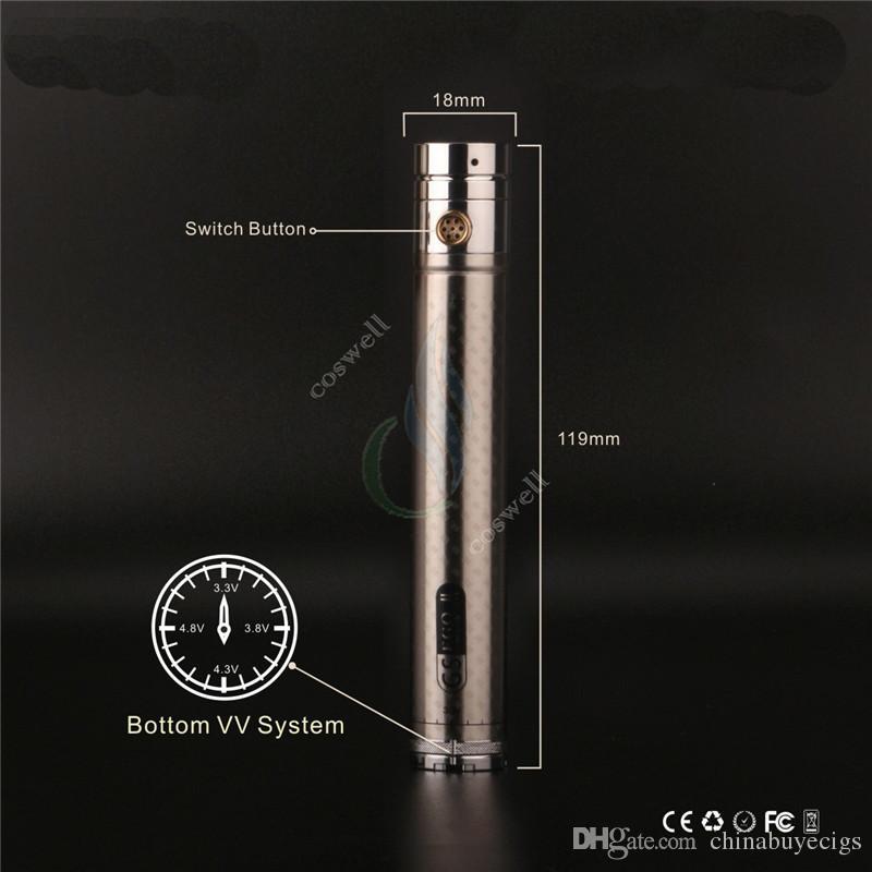 Original GS ego II twist 2200mAh twist 3.3-4.8V variable voltage 2200 mAh battery upgrade IC for e cigs ego atomizer DHL