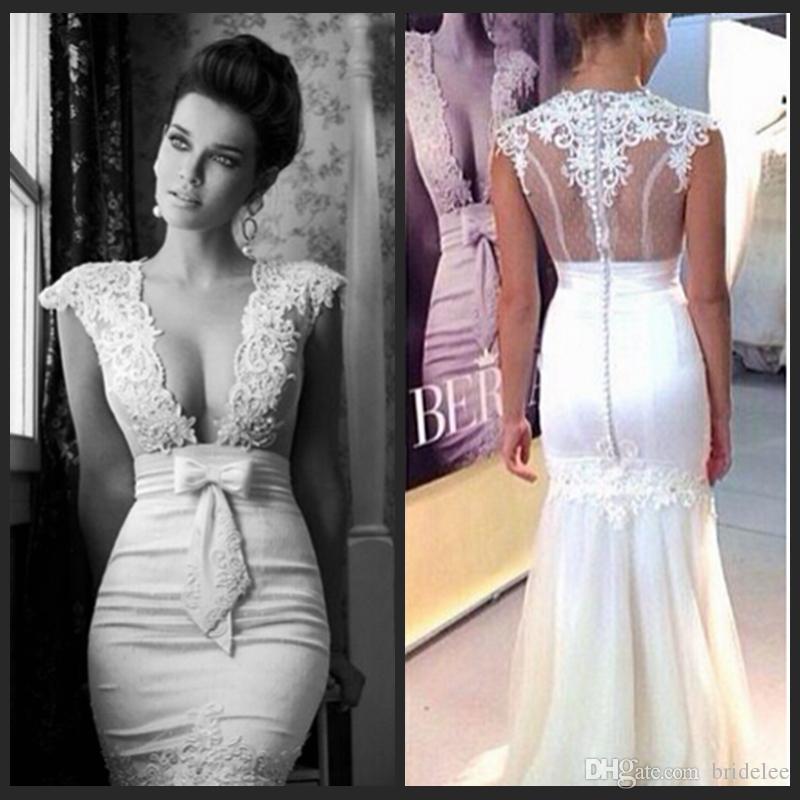 Berta 2015 gorgeous style mermaid bridal gown sheer low for Low cut mermaid wedding dress