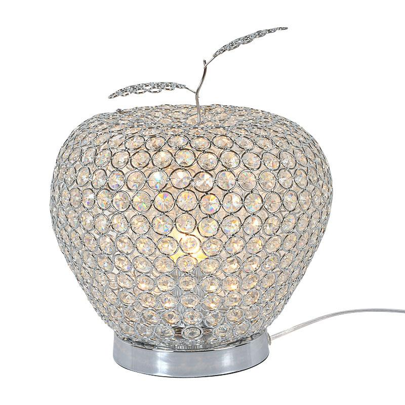 See larger image. Modern Crystal Apple Bedroom Table Lamps Luxury Crystal Bedside