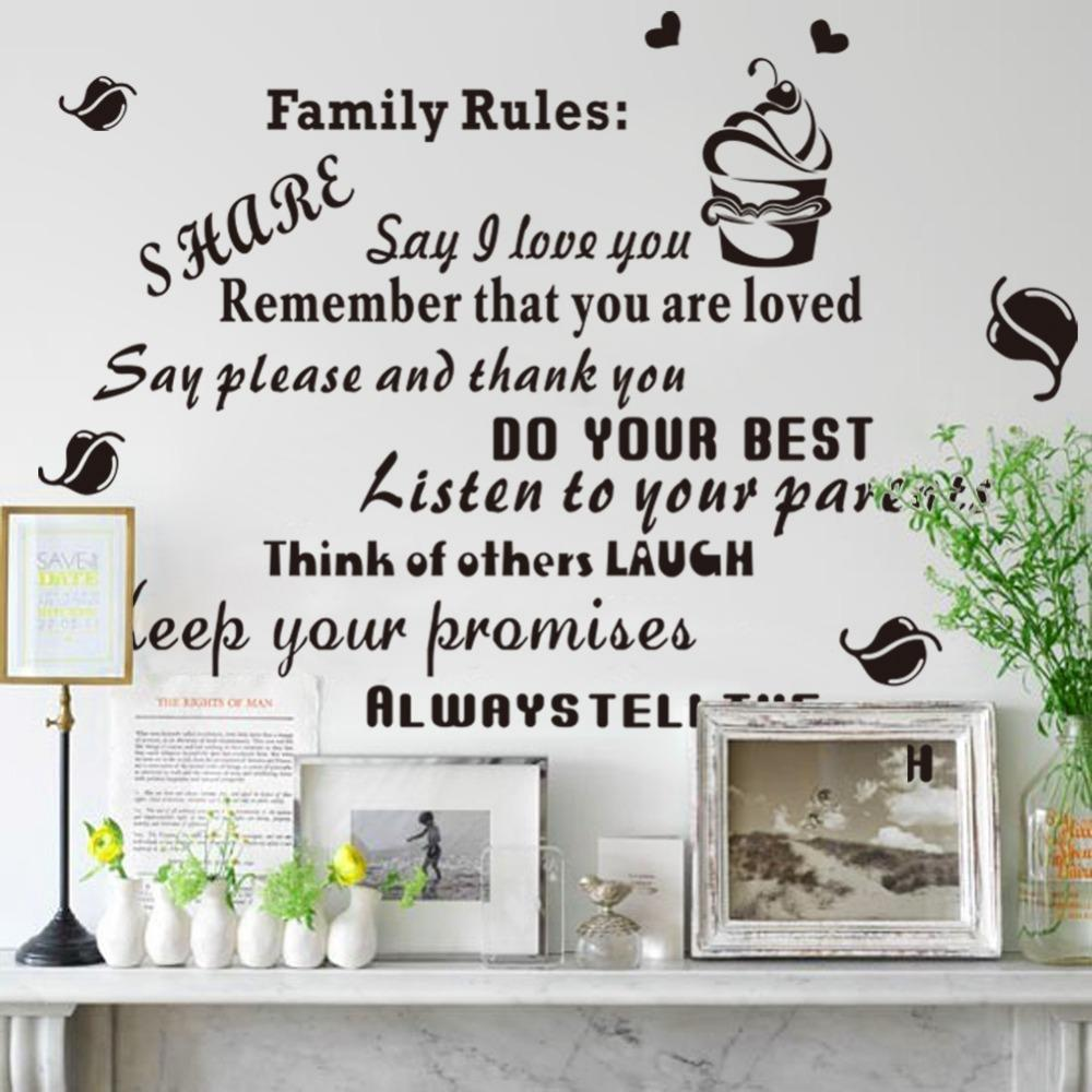 Large Family Quotes Wall Stickers Rules Wall Decals Vinyl Stickers ...