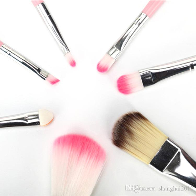 Hello Kitty Makyaj Kozmetik Fırça Seti Makyaj Fırçalar Pembe Demir Durumda / Tuvalet Güzellik Aletleri 7 adet / takım 10 takım