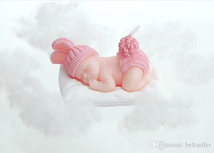 Creative 3D Sleeping Baby świeca Niepludne świece Świece Urodziny Party Baby Shower Favors Red Blue Color Darmowa Wysyłka
