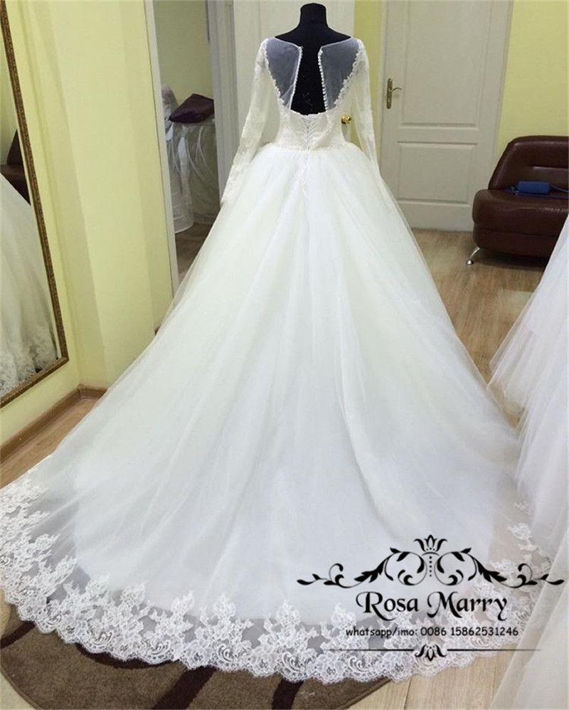 Robes de mariée en dentelle musulmane victorienne en dentelle 2020 cristaux perlés Vintage en dentelle Corset manches longues Blanc Tuffy Robe de mariée africaine