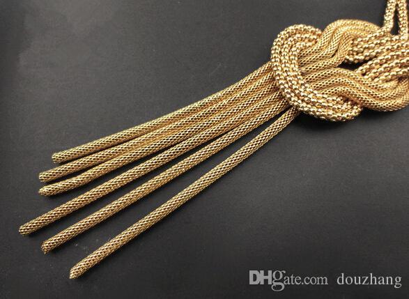 Mode Femmes Chunky D'or Multi Chaîne Twist Nœud Maille Serpent Chaîne Gland Choker Déclaration Collier Bijoux
