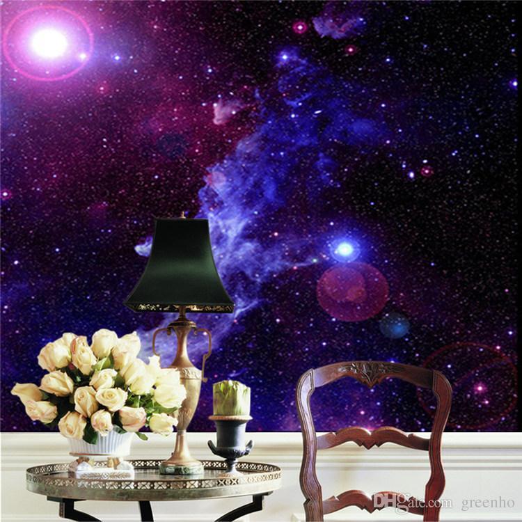 Purple galaxy wallpaper mural photo giant wall decor paper for Galaxy wallpaper for rooms