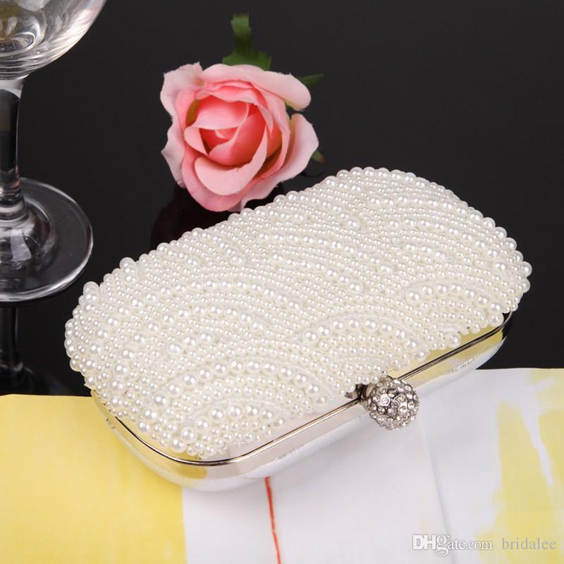 2015 Hot Fashion Handmade Beaded Pearl Evening Bag Clutch Crystal Purse Bag Party Wedding Bag