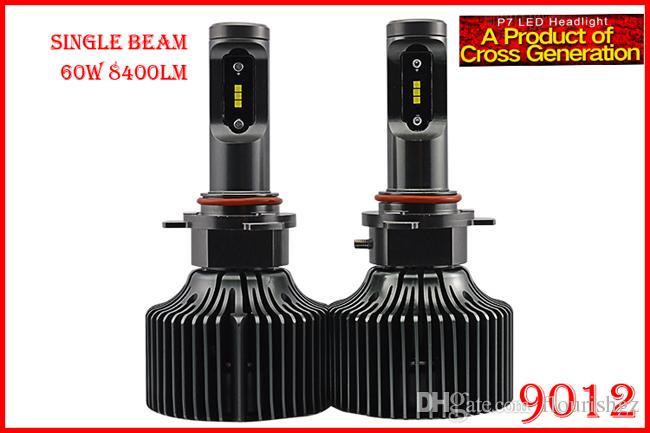 1 Set 9012 HIR2 60W 8400LM P7 Auto LED Headlight Kit System Fanless ALL IN  ONE Korea CSP LED 12/24V Xenon White 6000K Driving High Power LED