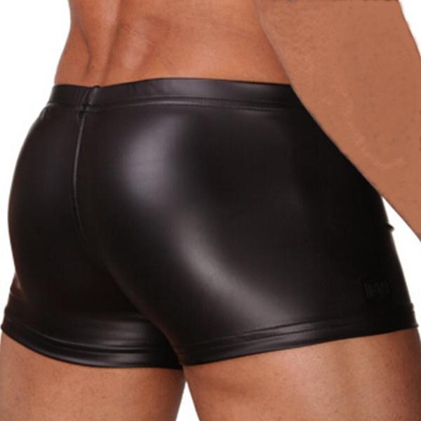 Nouveau Hommes Faux En Cuir Sexy Soyeux Boxer Shorts Renflement Améliorer Mens Sous-Vêtements De Haute Qualité S M L