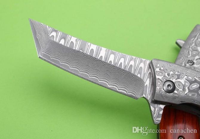 Thomas Damascus knife VG10 damascus steel blade Sandalwood and abalone shell handle outdoor folding knife EDC tools Xmas gifts