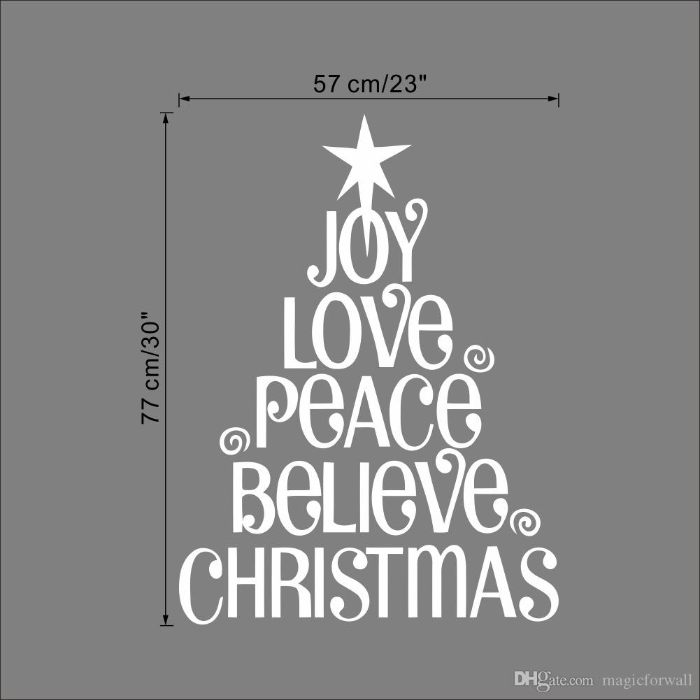 Joy Love Peace Believe Christmas Christmas Tree Wall Quote Decal Sticker  Festival Home Lettering Wallpaper Art Poster Wall Mural Stickers Wall Murals  And ... Part 96