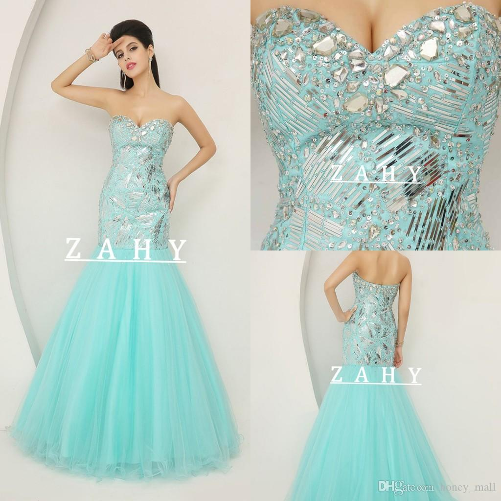Fresh Color 2015 Spring Prom Dresses Sweetheart Sweep Train Sequins ...