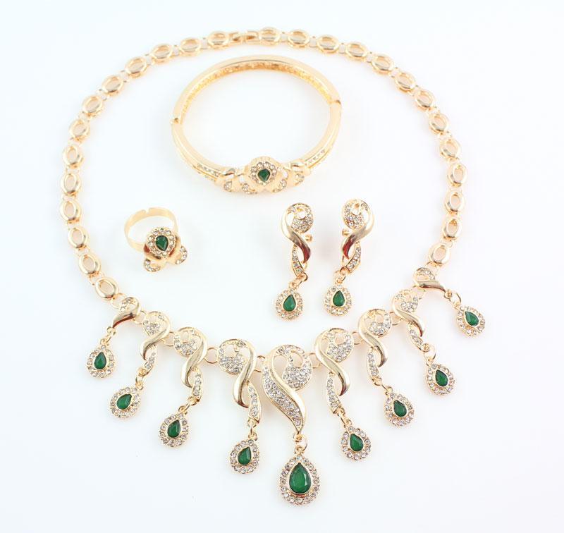 Or Plaqué Cristal Perles Africaines Bijoux Ensembles Pour Les Femmes Robe Accessoires De Mariage De Mariée Vert Zircon Collier Boucles D'oreilles Ensemble