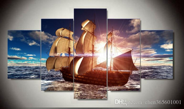 Framed Modern Wall Art Home Decoration Printed Oil Painting Pictures HD Canvas Prints Sailing Boat on the Sea Landscape F/1382